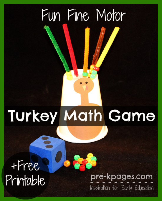 Fine motor turkey math game for Thanksgiving crafts for preschoolers free