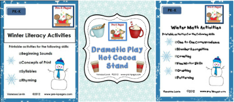 Winter Printables for Literacy, Math, and Dramatic Play in Preschool and Kindergarten