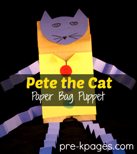 Pete the Cat DIY Paper Bag Puppet #preschool #kindergarten