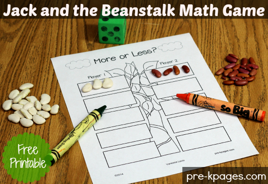 Free Printable Math Activity for Jack and the Beanstalk #preschool #kindergarten
