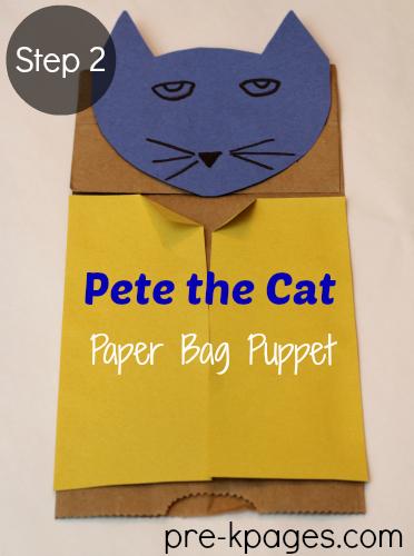 Teach Alliteration with Pete the Cat Paper Bag Puppet #preschool #kindergarten