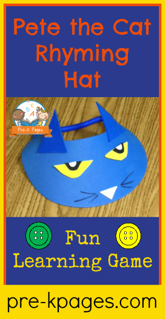 Pete the Cat Rhyming Hat Activity for #preschool #kindergarten