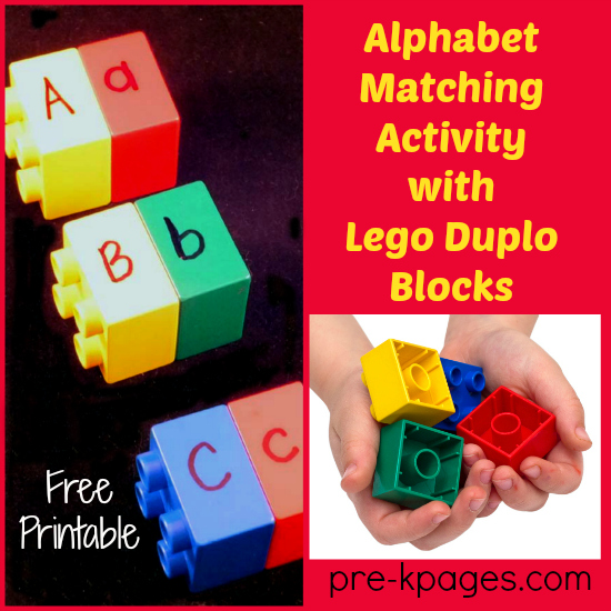 Alphabet Matching activity with Lego Duplo Blocks