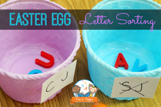 Learning Letters with Plastic Easter Eggs in Preschool