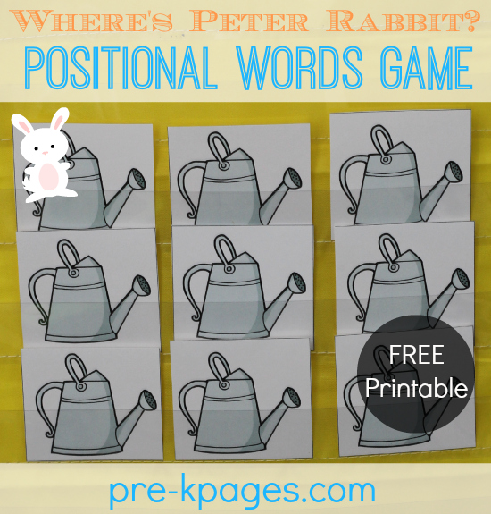 Free Printable Where's Peter Rabbit? Positional Word Game for #preschool and #kindergarten
