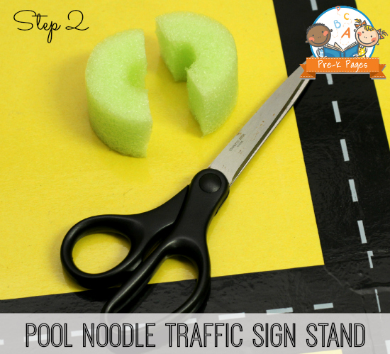Make Environmental Print Traffic Sign Stands with Pool Noodles