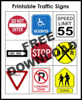 Free Printable Traffic Signs for Block Center