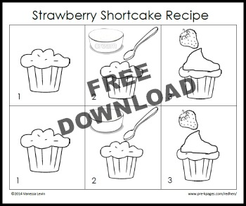 Cock-a-Doodle Doo Little Red Hen Book Activity: Free Printable Picture Recipe for Strawberry Shortcake Snack