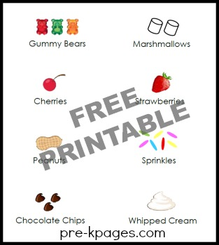 Printable Ice Cream Topping Labels and Signs