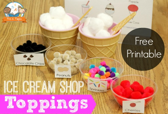 Fun Toppings for Pretend Play Ice Cream Shop and Free Printable