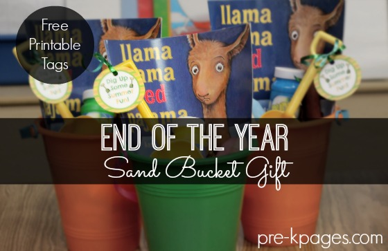 Printable Beach Bucket Gift Tags for End of the Year Gifts in Preschool and Kindergarten