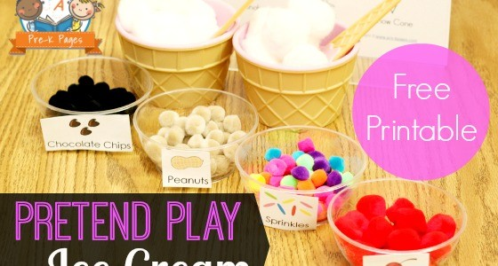 Pretend Play Ice Cream Toppings Printable