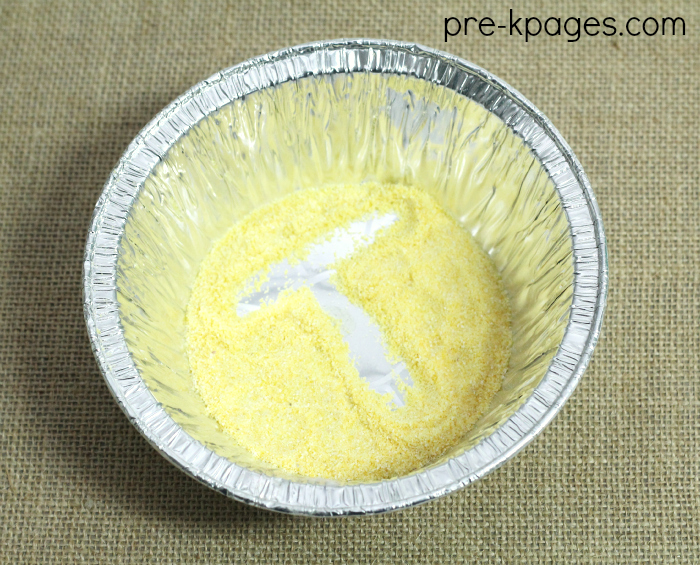 Cornmeal in Pie Pan for Multi-Sensory Learning