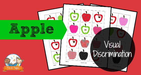 Free Printable Apple Theme Visual Discrimination Activity for Preschool and Kindergarten