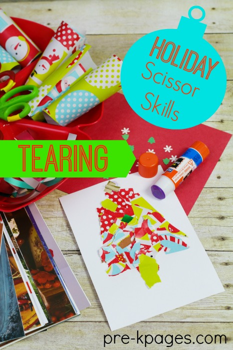 Christmas Fine Motor Skills Tearing Wrapping Paper