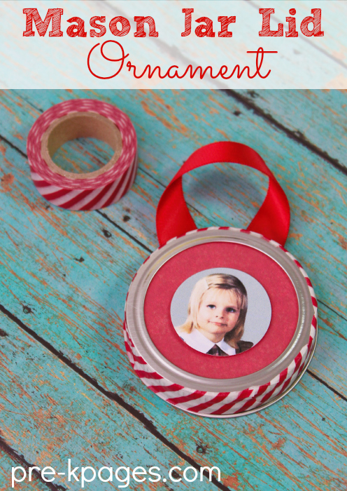 Mason Jar Lid Picture Ornament