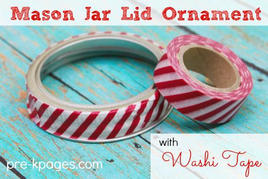 Mason Jar Lid Christmas Ornament with Washi Tape