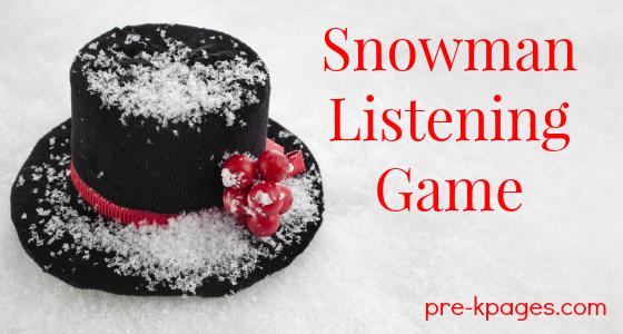 Snowman Listening Game Printable for Preschool