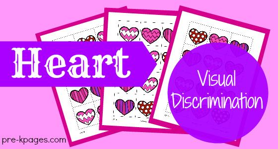 Heart Visual Discrimination Printable