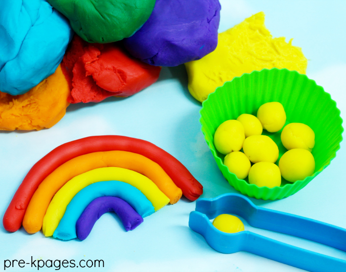 How to Make Rainbow Play Dough for Preschoolers