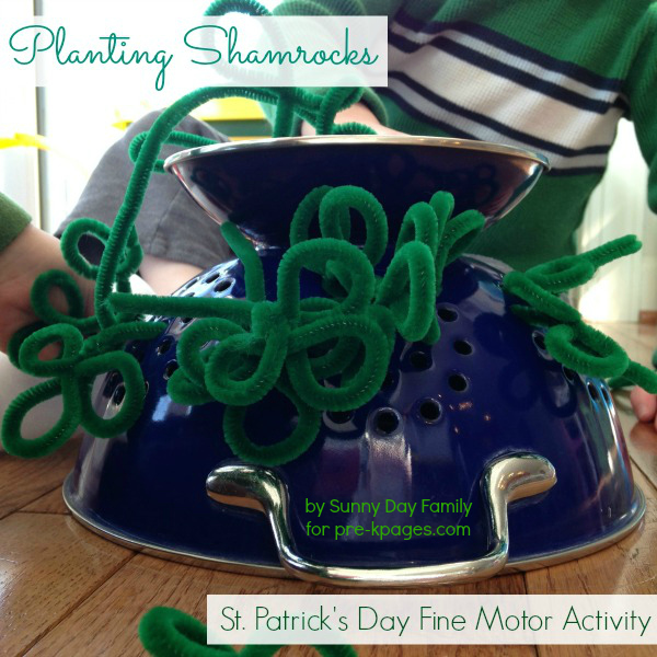 Fine Motor Practice Planting Shamrocks for St. Patrick's Day