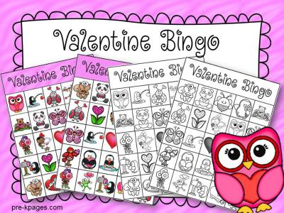Printable Valentine Bingo Game for Preschool