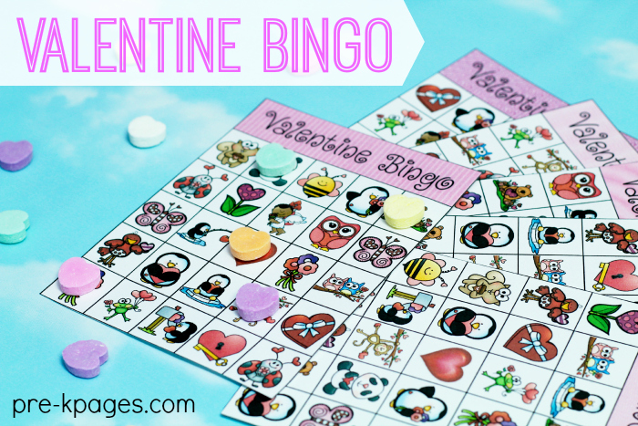 Valentine's Day Printable Bingo Game for Preschool and Kindergarten
