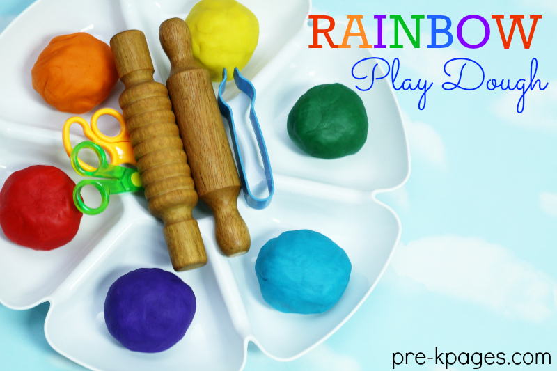 Rainbow Play Dough for St. Patrick's Day Fun in Preschool