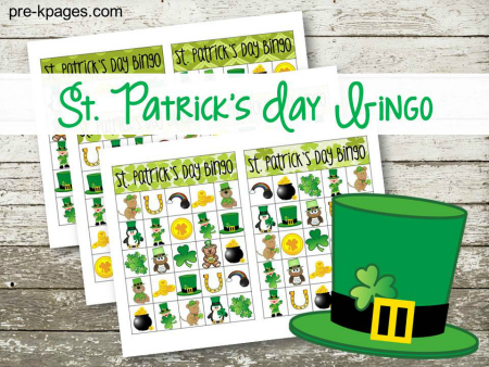 Printable St. Patrick's Day Bingo Game for Preschool and Kindergarten