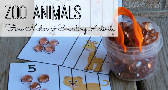 Zoo Animals Fine Motor and Counting Activity