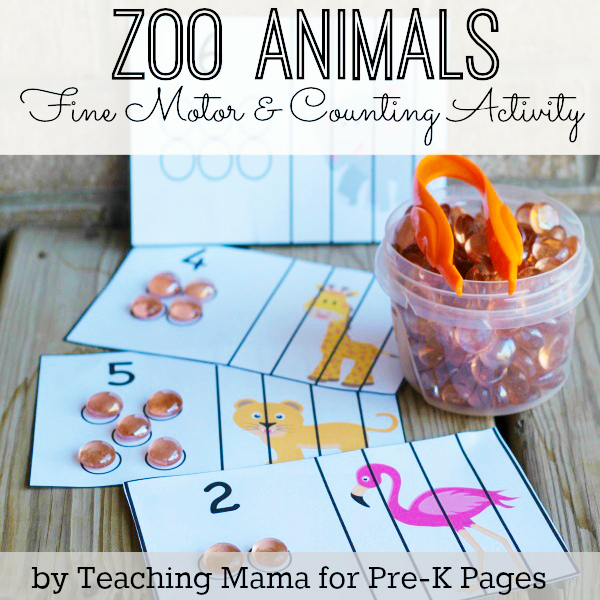 Zoo Animal Fine Motor and Counting Activity