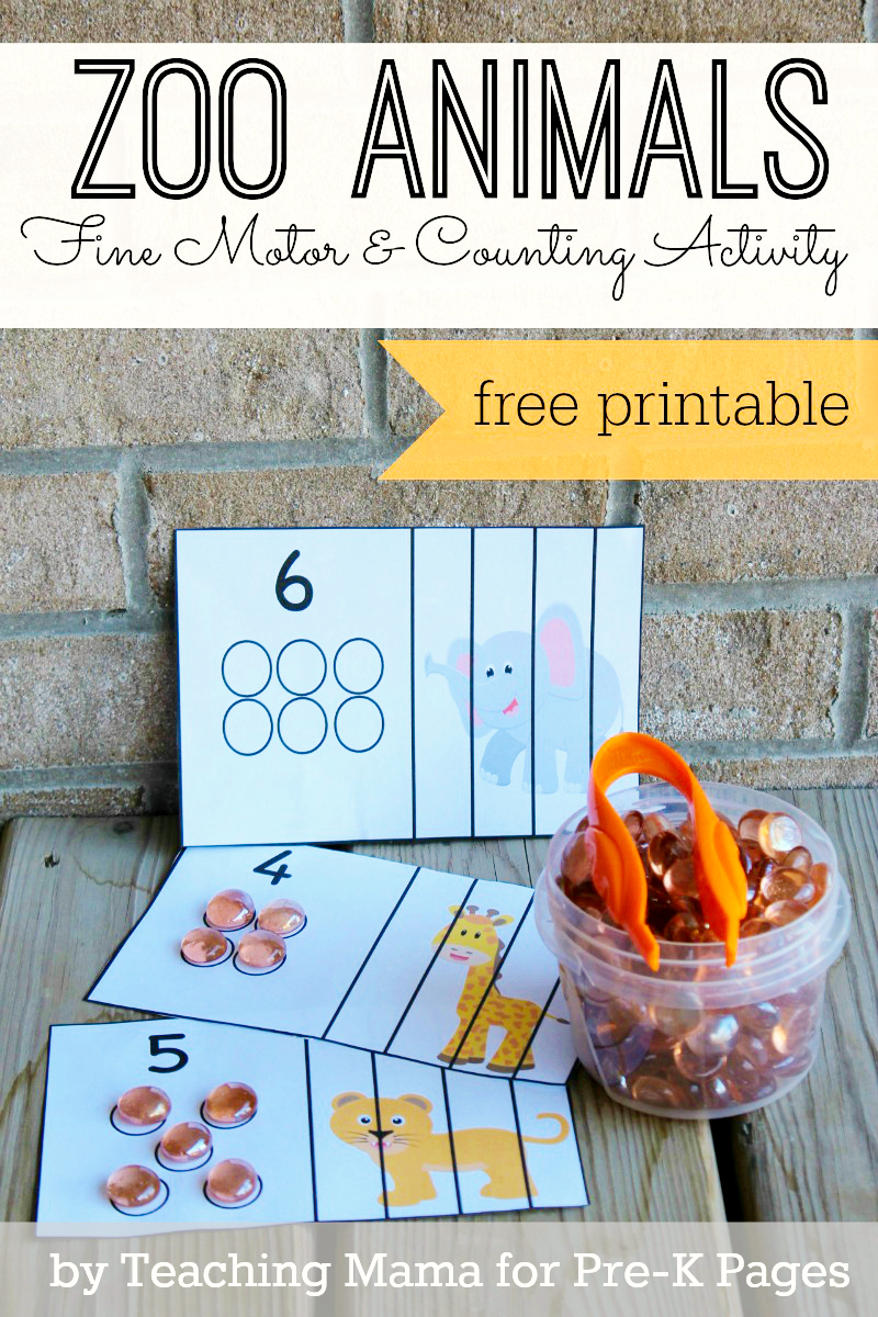 Zoo Animal Fine Motor Activity for Preschool