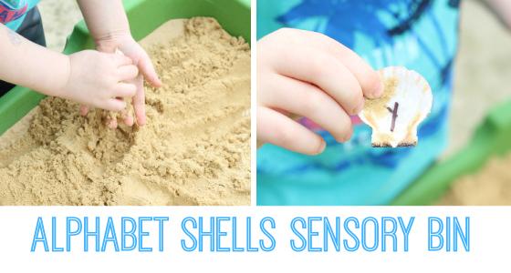 Ocean Theme Alphabet Shells Sensory Bin