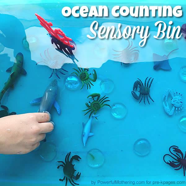 Ocean sensory bin for preschool