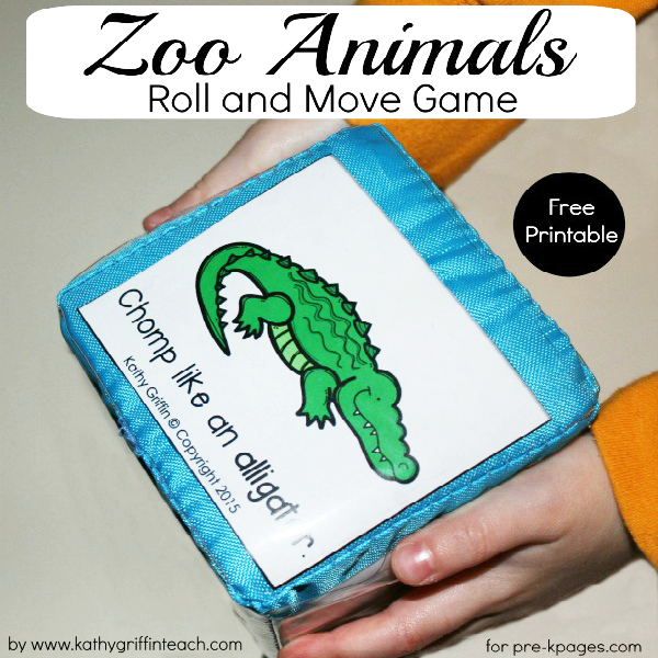 Zoo Animals Roll and Move Game for preschool