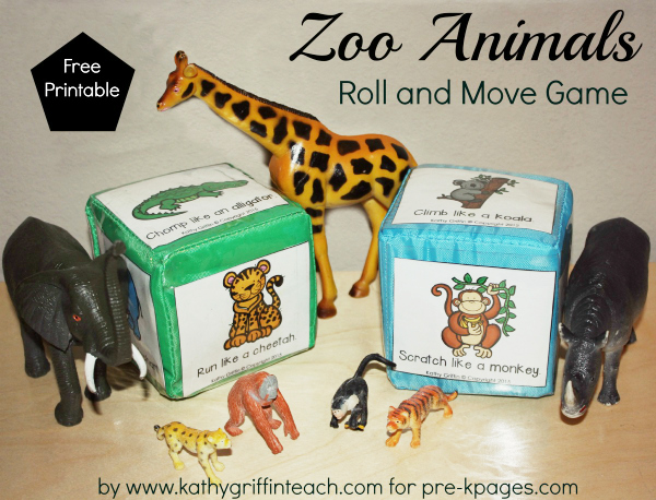 Zoo Animals Roll and Move Game