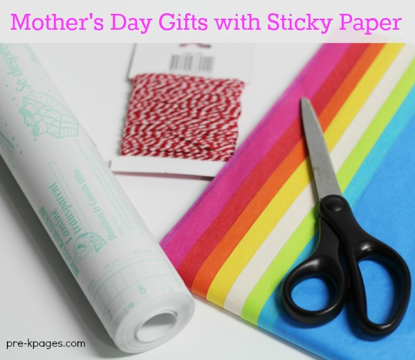 Supplies to make contact paper bookmark craft