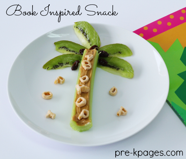 Chicka Chicka Boom Boom Celery and Kiwi Snack for Preschool