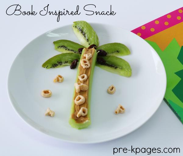 Chicka Chicka Boom Boom Celery and Kiwi Snack for Preschool