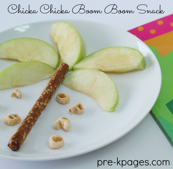 Chicka Chicka Boom Boom Apple and Pretzel Snack for Preschool