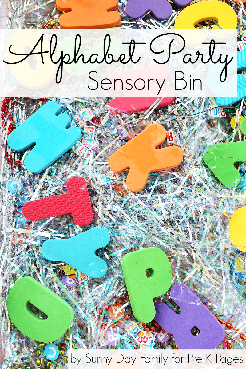 Alphabet Party sensory bin for preschool