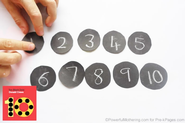 numbered black dots counting circles