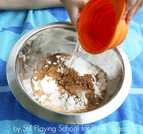 cornstarch chocolate sensory play