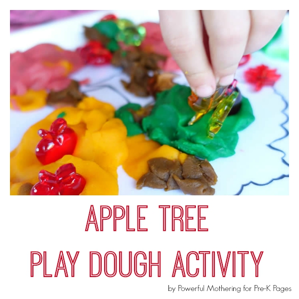 apple tree play dough for preschool