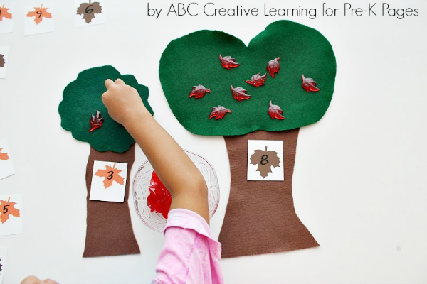 Felt Leaf Counting Activity for Preschoolers