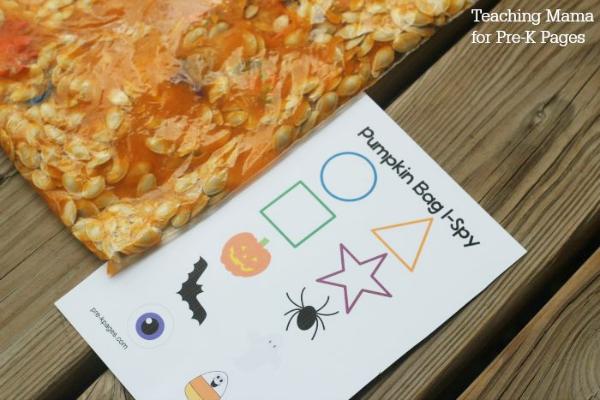 pumpkin sensory I-Spy Bag