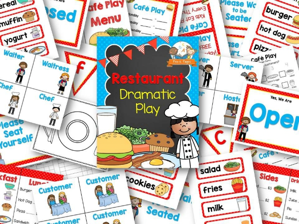 Cafe Play Restaurant Printables for Pretend Play