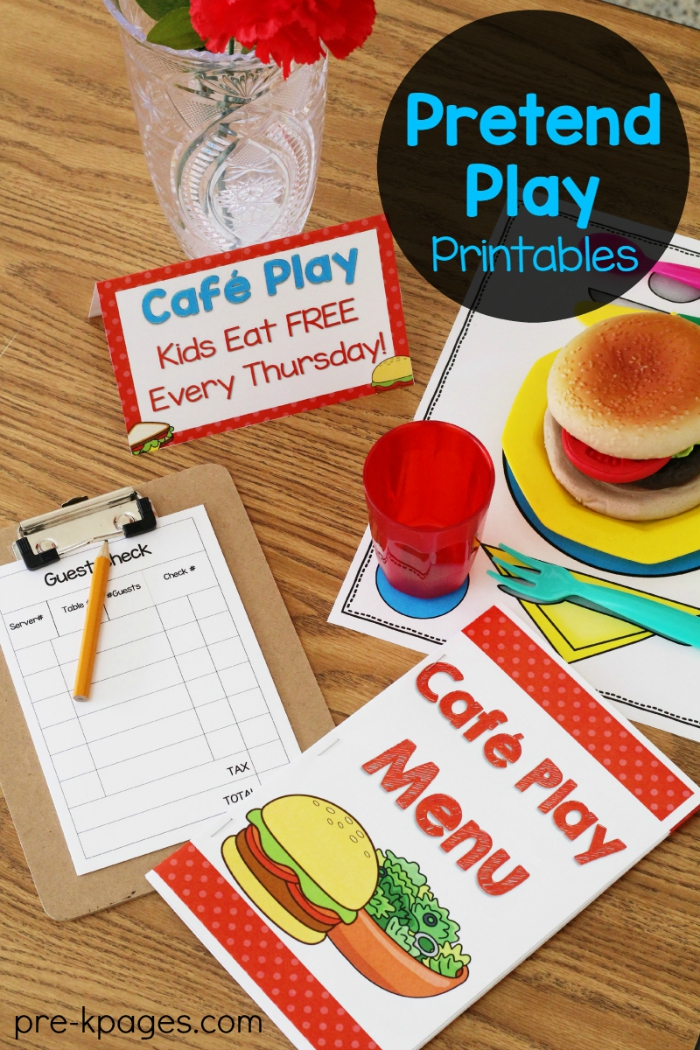 Printable Menu for Pretend Play Restaurant
