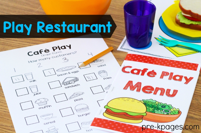 Pretend Teacher Worksheets : Dramatic play restaurant