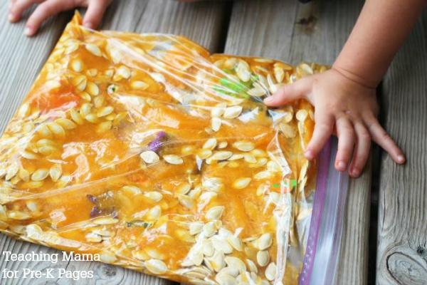 pumpkin guts sensory bag